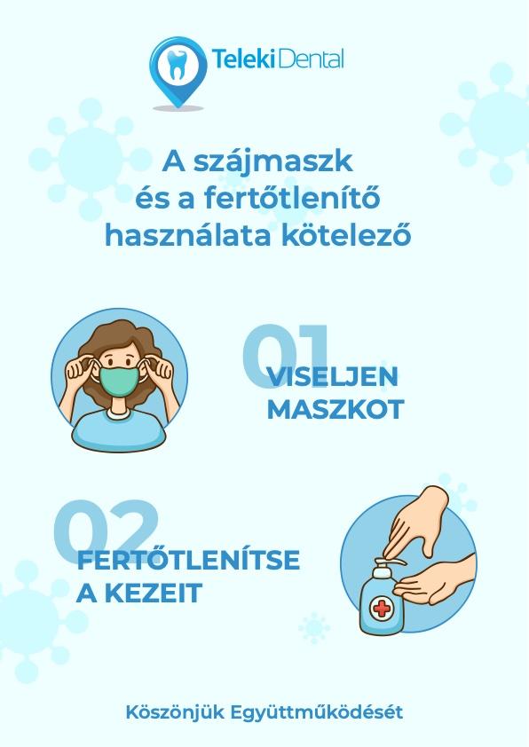 Teleki Dental - Koronavírus - A szájmaszk és a fertőtlenítő használata kötelező!